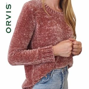 Orvis Chunky Knit Chenille Blush Pullover Sweater
